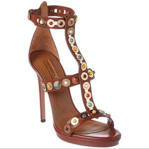 Aquazzura brown leather sandals w/ multi stones